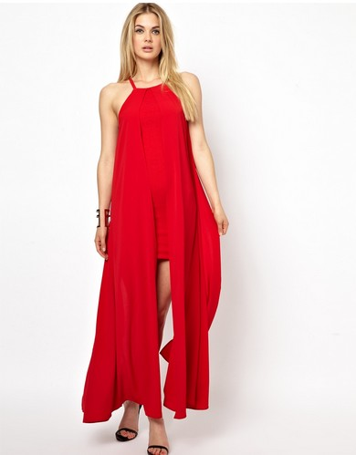 Shop The Golden Globe Style – AQ AQ Gritz Dress with Maxi Cape Dress, red