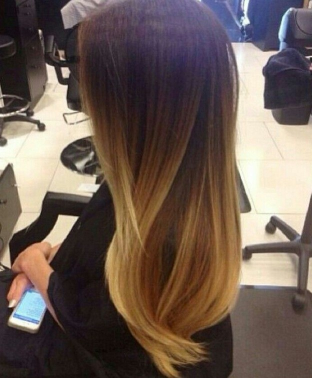 Side View of Long Straight Ombre Hair