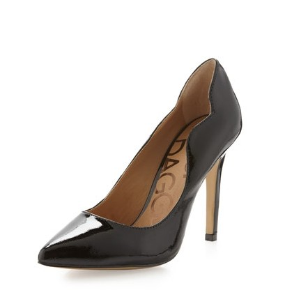 Keilsi Dagger Elzira Patent Pump, Black, Scalloped collar - Sparkly Style for 2014