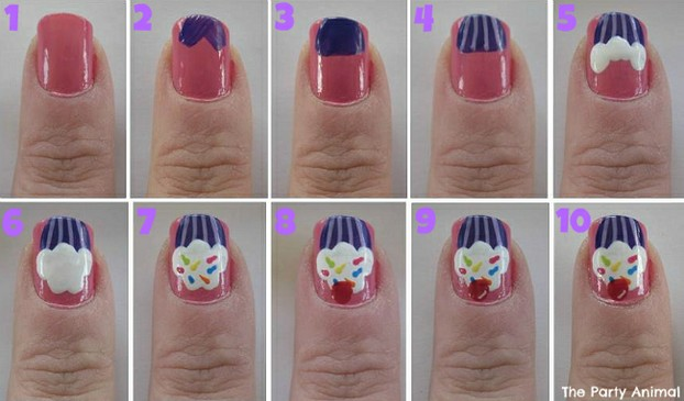 Steps for Creating Cupcake Nails