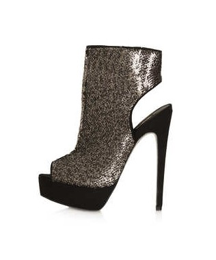 TOPSHOP ABSINTH Stiletto Cut Out Boots, gold sequined
