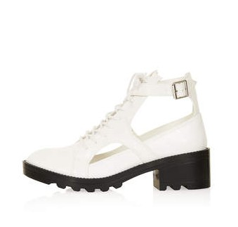 TOPSHOP MERCURY Lace Up Cutout Boots, White