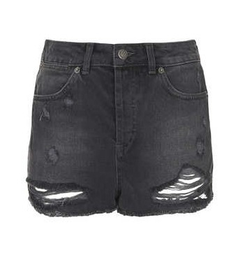 TOPSHOP MOTO Ripped Denim Hotpants, Black Cutoff Shorts