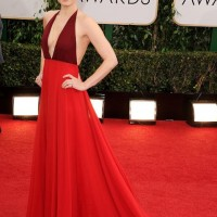 The Glamorous Golden Globe Style - Amy Adams poppy and magenta two-tone color low-cut Valentino Dress