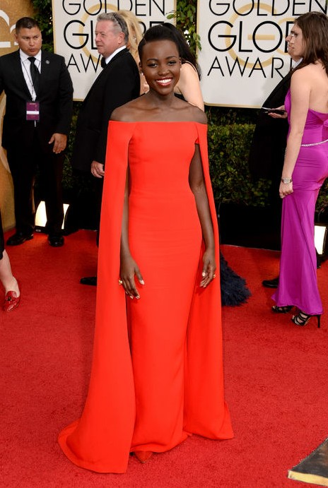 The Glamorous Golden Globe Style - The Best Supporting Actress nominee Lupita Nyong'o Ralph Lauren Collection bright red cape dress