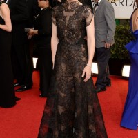 The Glamorous Golden Globe Style - Cate Blanchett Exquisite black lace gown by Armani Privé
