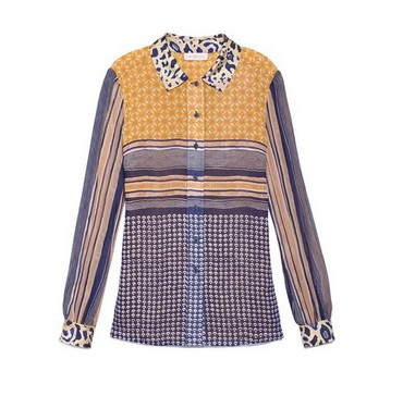 Tory Burch Angelique Blouse, multi print, polka dot