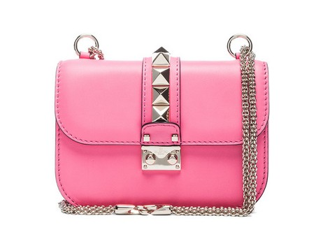 Valentino Small Lock Flap Bag in Fluorescent Pink