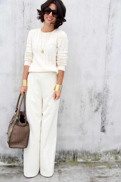 White Outfit, crew neck white sweater with white pants