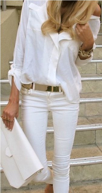 White Outfit , White shirt with gold accessories.