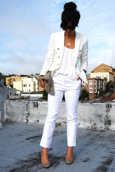 White Outfit , sheer white pantsuits with white tank top