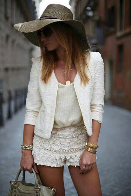 White Outfit for 2014, white blazer with lacey hot shorts