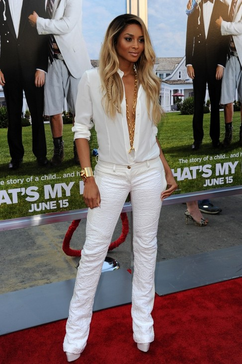 White Outfit for Spring 2014, cool white low-cut pantsuits