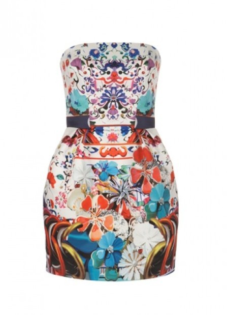 Quirky Print Style for Spring 2014: trible print strapless evening dress