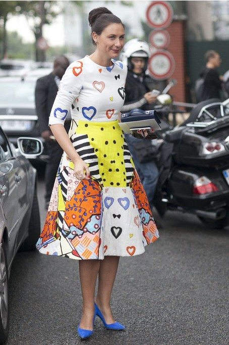 Quirky Print Style for Spring 2014: multicolored and mixed prints skirt