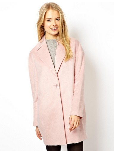 ASOS Fluffy Cocoon Coat, Pink