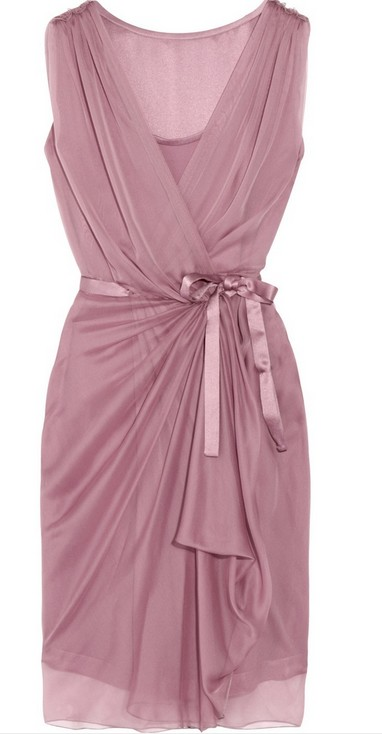 Alberta Ferretti Silkchiffon Wrap Dress, purple