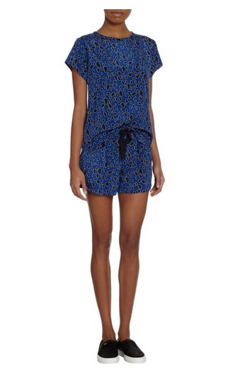 BARNEYS NEW YORK Sea Leopard Print Short Sleeve Blouse for Weekend Outfit Idea