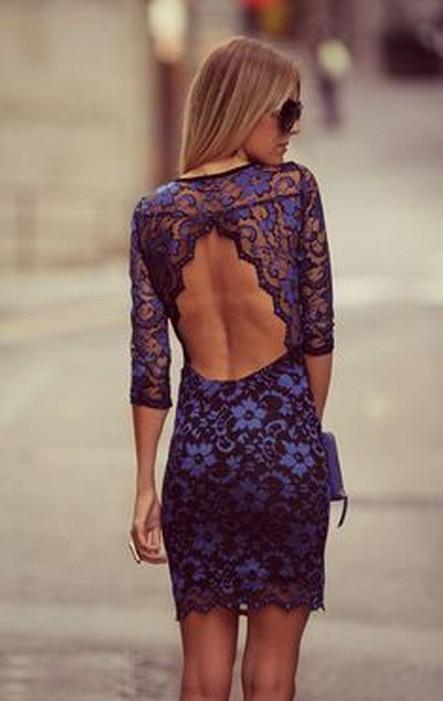 Blue Lace Backless Dress