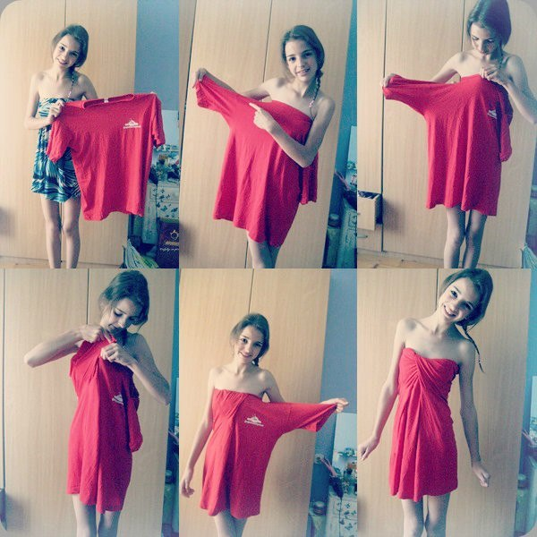 Change an Over-size T-shirt into a Dress