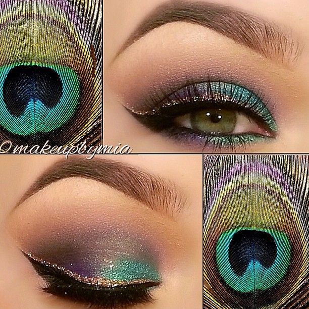 Colorful Eyeliners: Peacock Feathers