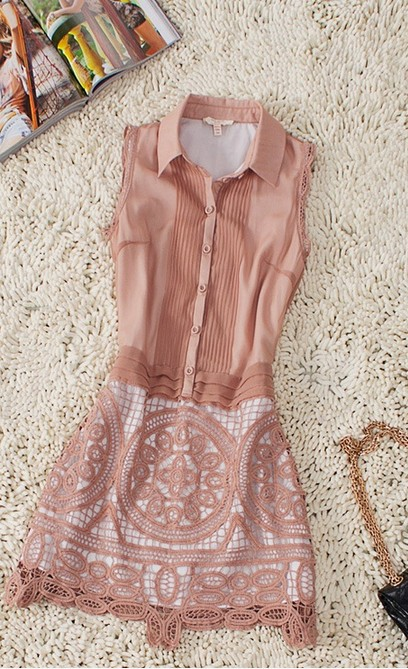 Lovely Coral Sleeveless Pleated Crochet Floral Shirt Dress