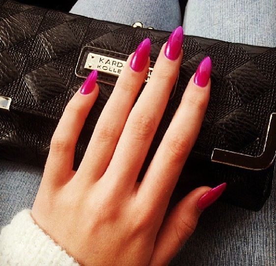 Deep Pink Pointy Nails