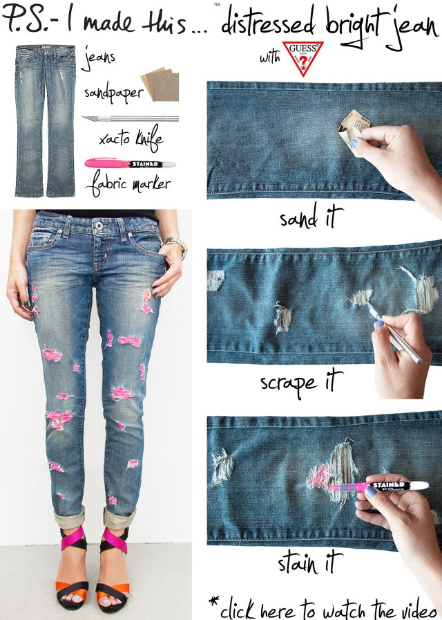 Distressed Bright Jean