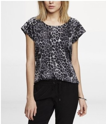 Express Leopard Print Short Sleeve Blouse for Weekend Outfit Idea
