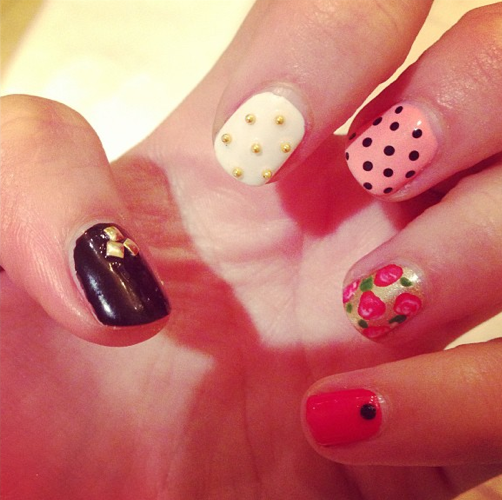 Floral and Dot Print