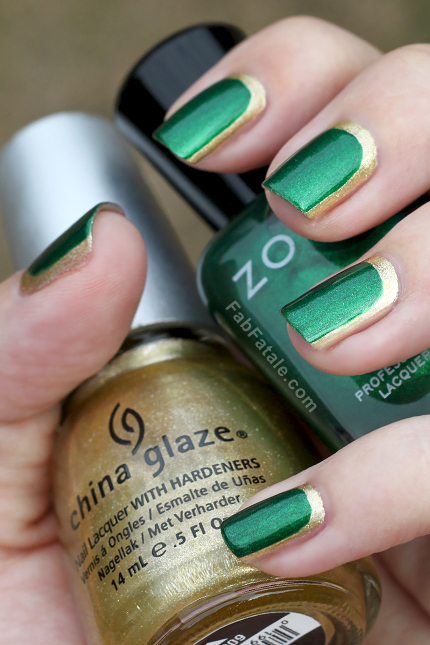 Green and Golden Nails