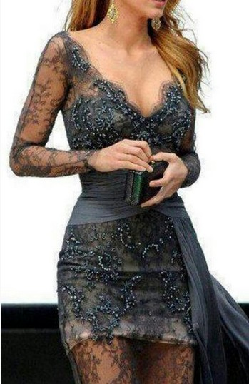 Grey lace dress with deep V neckline