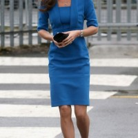 Kate Middleton's Blue Fitted Dress by L.K. Bennett Detroit