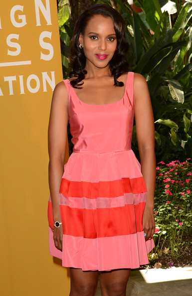 Kerry Washington in a coral-colored Christian Dior dress