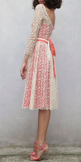 Lovely lace dress, white and coral