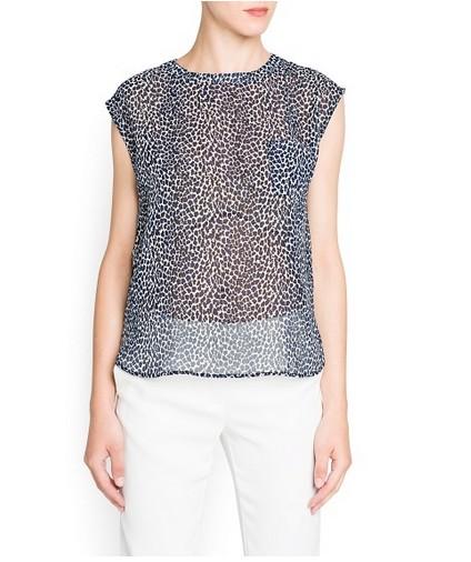 Mango Leopard Print Chiffon Blouse for Weekend Outfit Idea