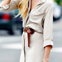 Michael Kors shirt dress with brown belt