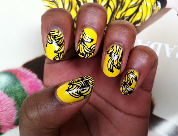 Nails with Banana Print