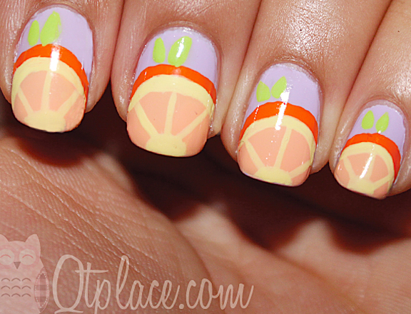 Nails with Orange Print