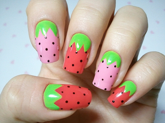 Nails with Strawberry Print