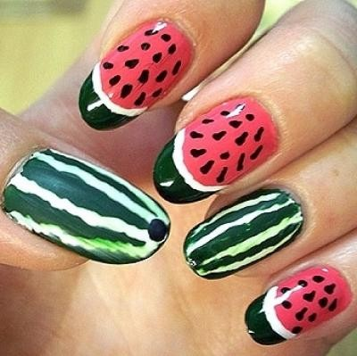 Nails with Watermelon Print