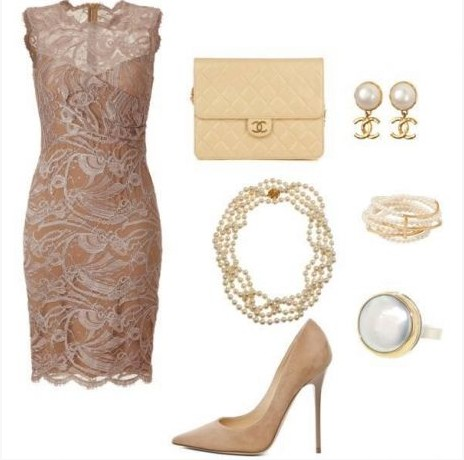 Nude elegant lace dress and nude heels