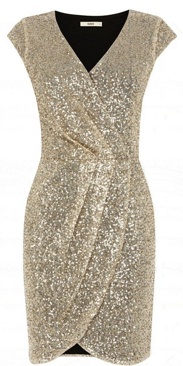 Oasis - Sequined Wrap Dress