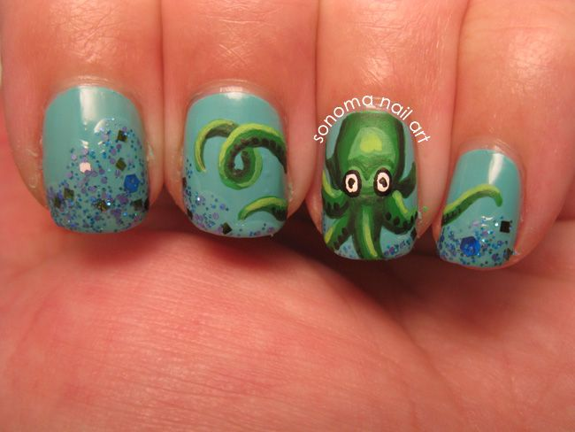 Octopus - 15 Ocean Nail Arts - Pretty Designs