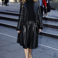 Olivia Palermo's Ladylike Black Leather Skirt by Reiss