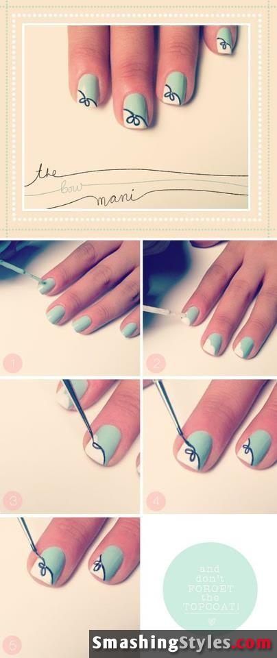 Pale Green and White Nails