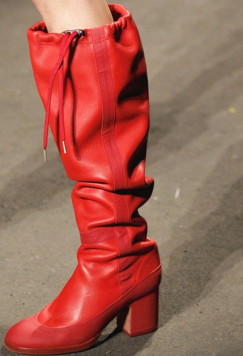 Rag & Bone baggy silhouette candy red rain boot