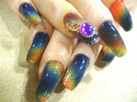 Rainbow Fish Scale Nails