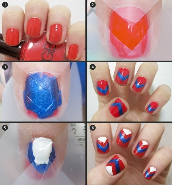 Red, Blue and White Nails