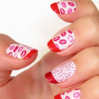 Red and White Nails